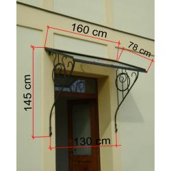 Kovaná secesní stříška 160x80 cm