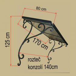 Kovaná stříška 170x80 cm